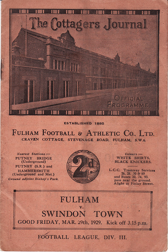<b>Friday, March 29, 1929</b><br />vs. Fulham (Away)