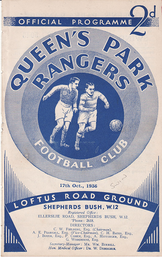 Saturday, October 17, 1936 - vs. Queens Park Rangers (Away)