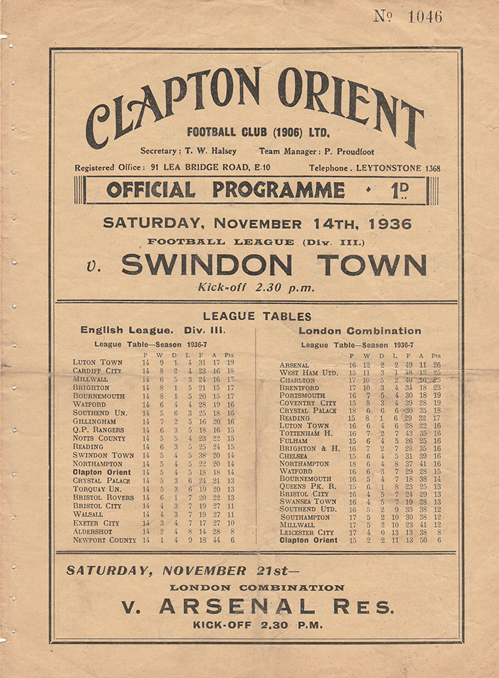 Saturday, November 14, 1936 - vs. Clapton Orient (Away)