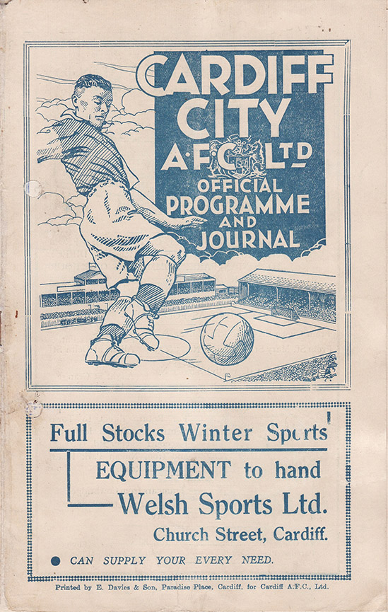 Saturday, December 12, 1936 - vs. Cardiff City (Away)