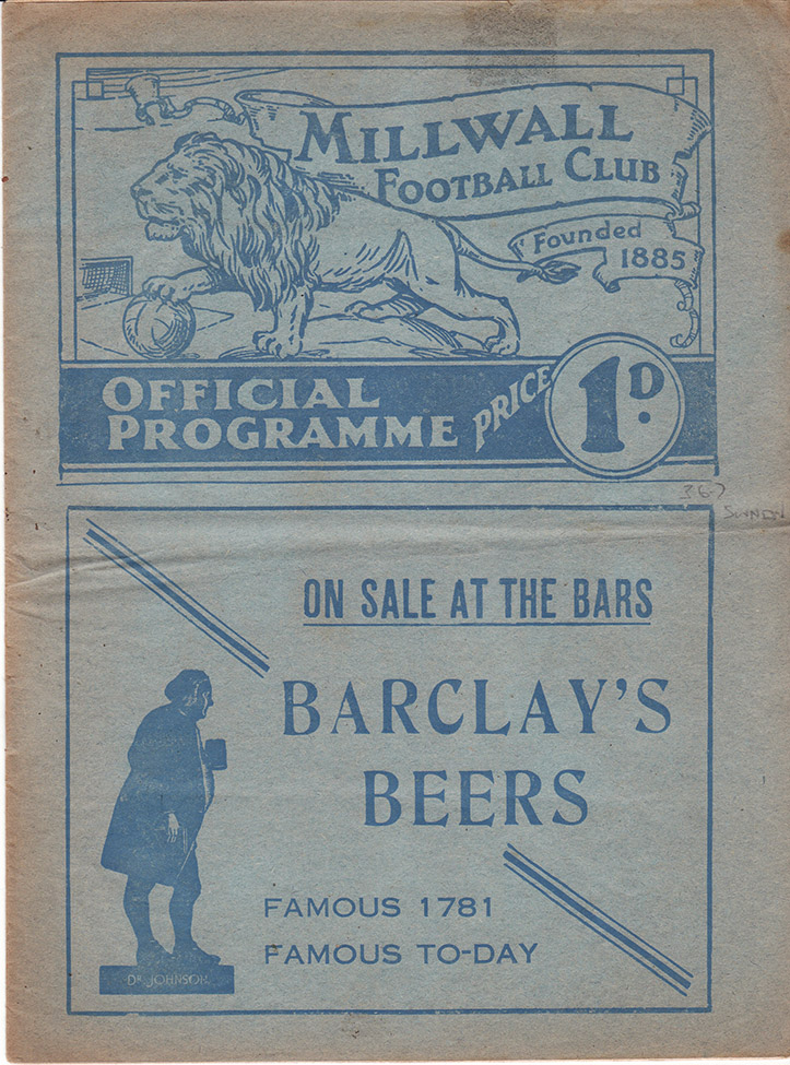 Friday, March 26, 1937 - vs. Millwall (Away)