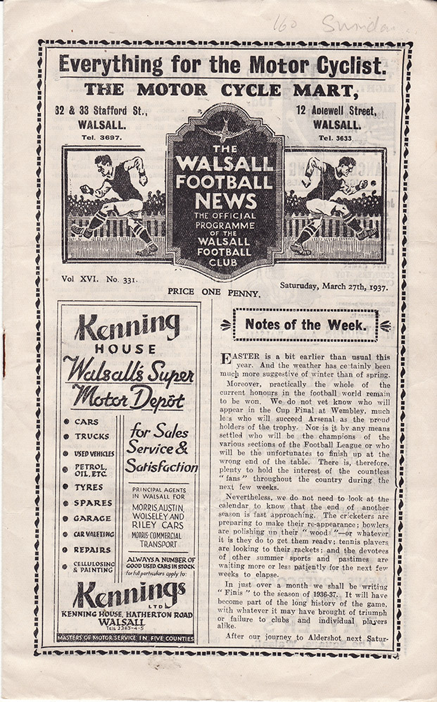 Saturday, March 27, 1937 - vs. Walsall (Away)