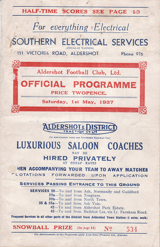 Saturday, May 1, 1937 - vs. Aldershot (Away)