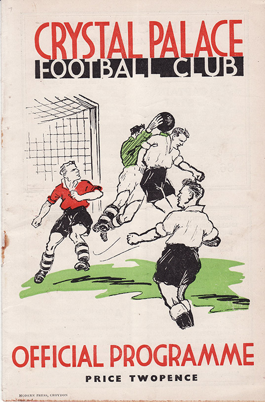 <b>Saturday, September 17, 1938</b><br />vs. Crystal Palace (Away)