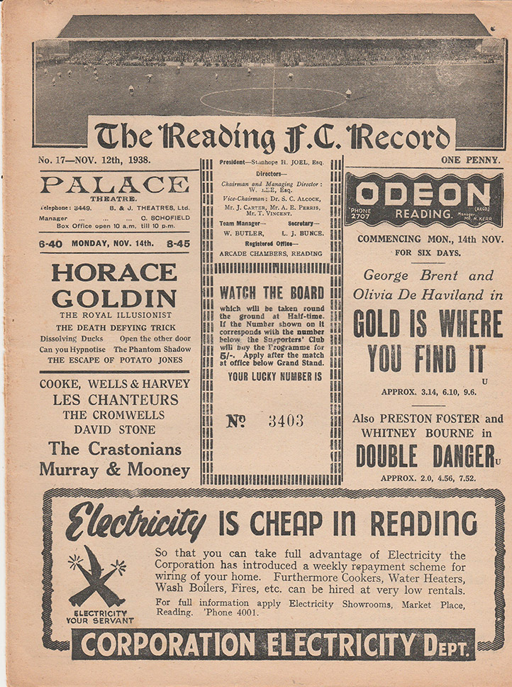 <b>Saturday, November 12, 1938</b><br />vs. Reading (Away)