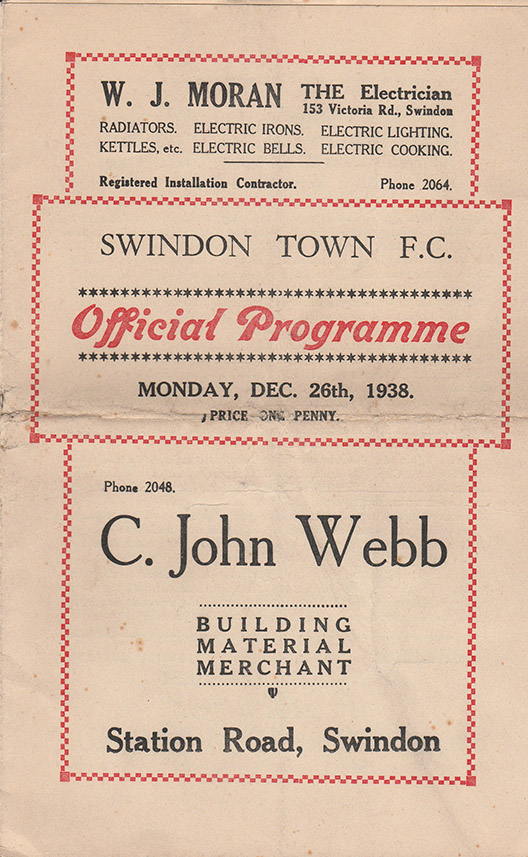 <b>Monday, December 26, 1938</b><br />vs. Newport County (Home)