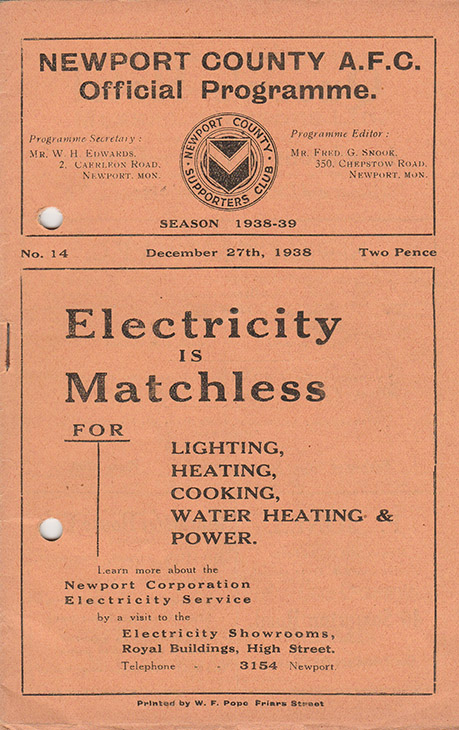 <b>Tuesday, December 27, 1938</b><br />vs. Newport County (Away)