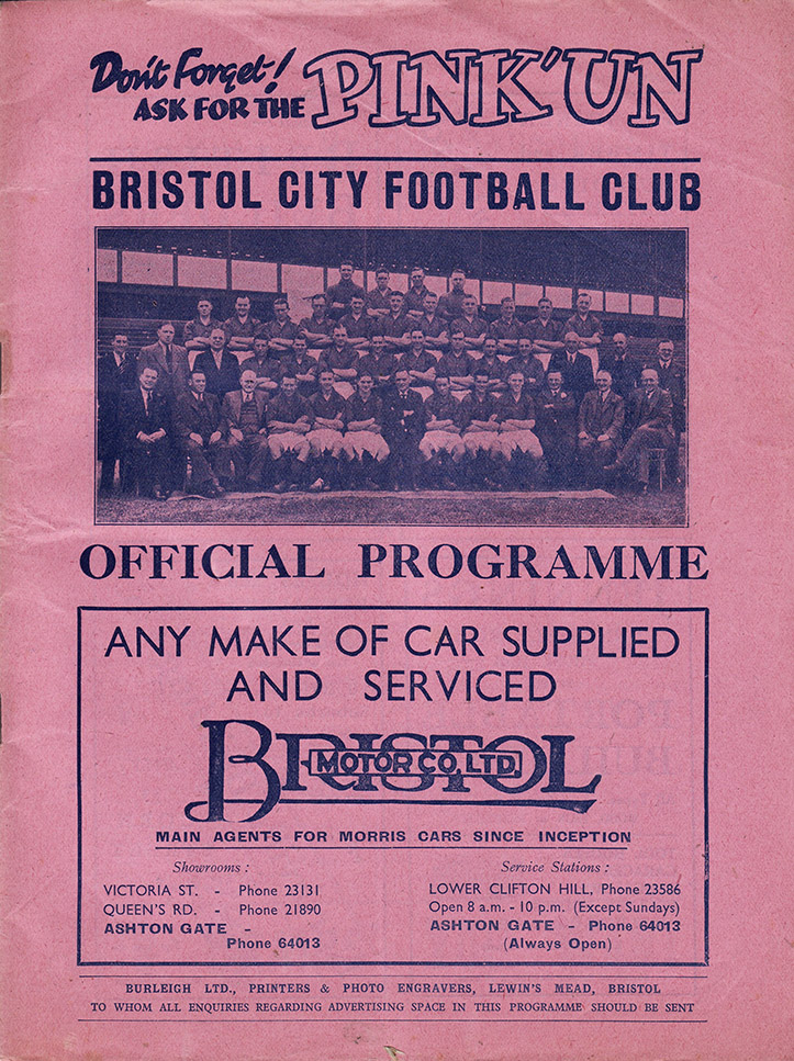 <b>Saturday, January 14, 1939</b><br />vs. Bristol City (Away)