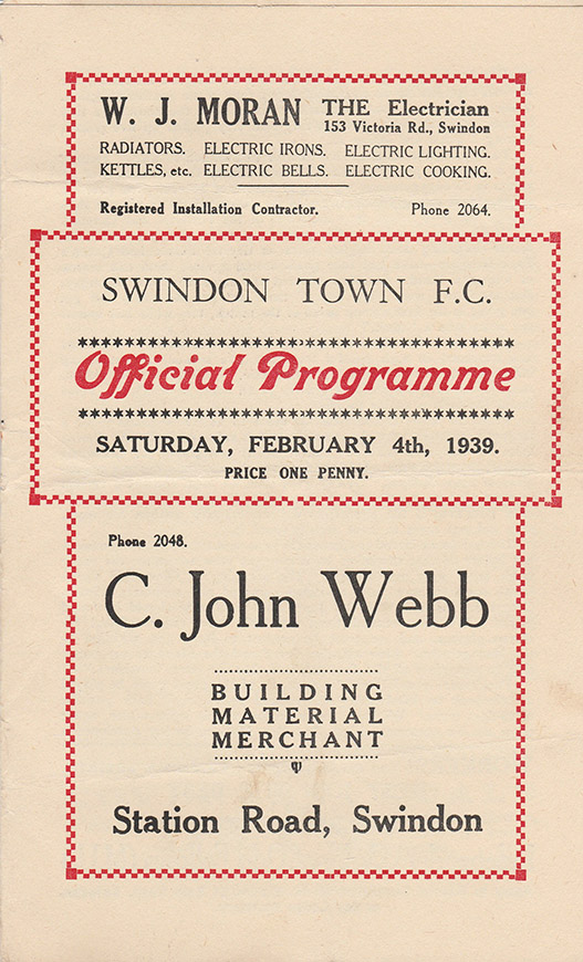 <b>Saturday, February 4, 1939</b><br />vs. Port Vale (Home)
