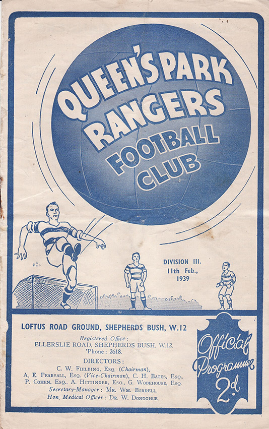 <b>Saturday, February 11, 1939</b><br />vs. Queens Park Rangers (Away)