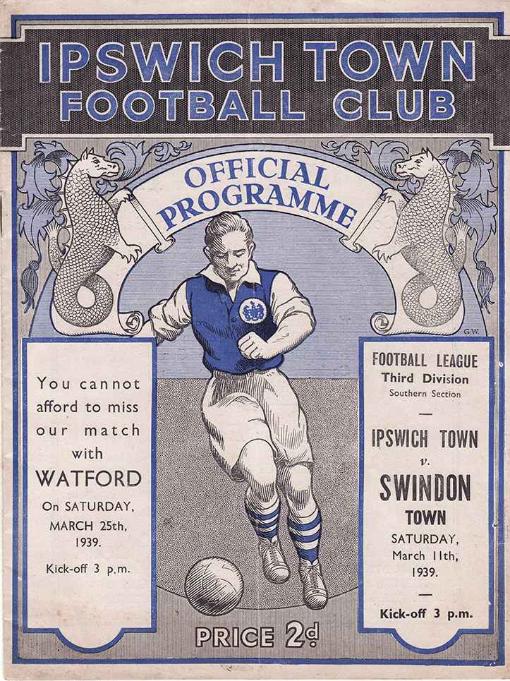 <b>Saturday, March 11, 1939</b><br />vs. Ipswich Town (Away)