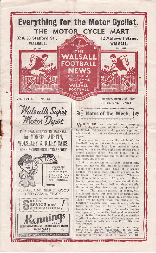 <b>Monday, April 24, 1939</b><br />vs. Walsall (Away)