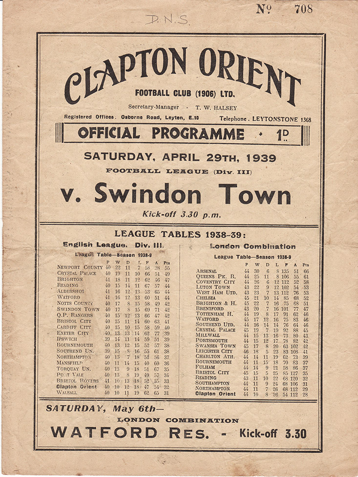 <b>Saturday, April 29, 1939</b><br />vs. Clapton Orient (Away)