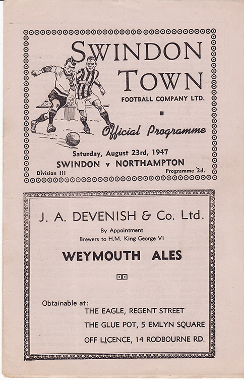 Saturday, August 23, 1947 - vs. Northampton Town (Home)