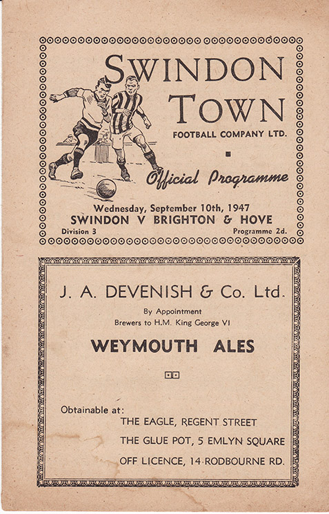 Wednesday, September 10, 1947 - vs. Brighton and Hove Albion (Home)