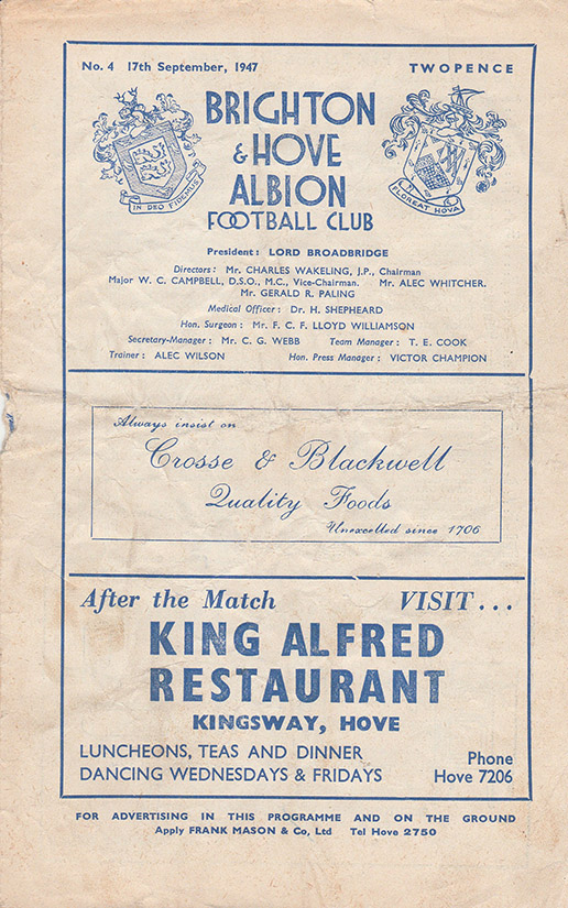 Wednesday, September 17, 1947 - vs. Brighton and Hove Albion (Away)