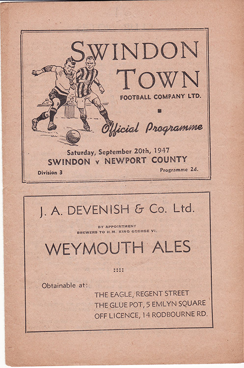 Saturday, September 20, 1947 - vs. Newport County (Home)
