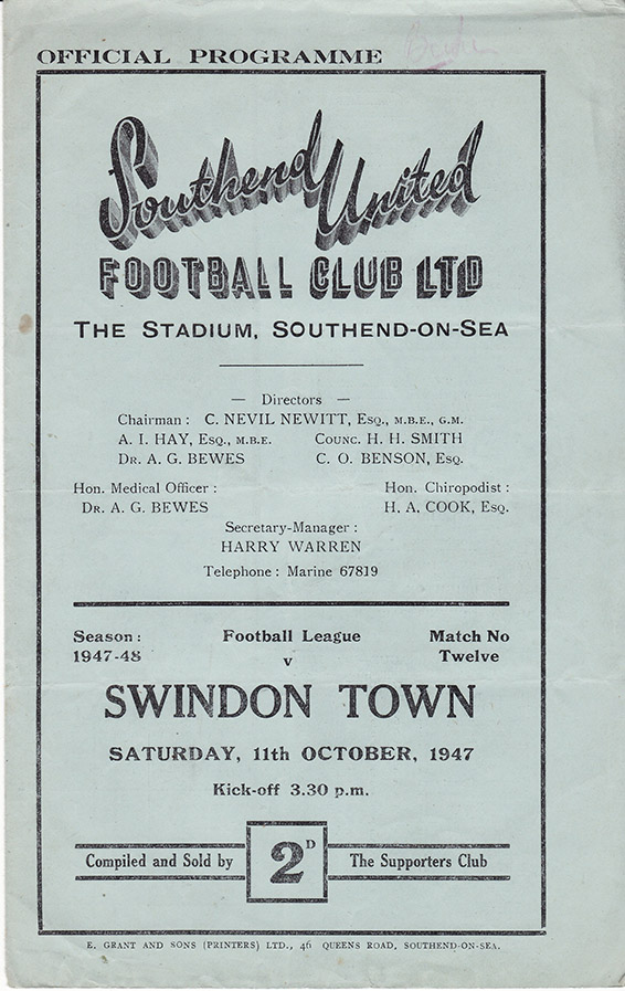 Saturday, October 11, 1947 - vs. Southend United (Away)