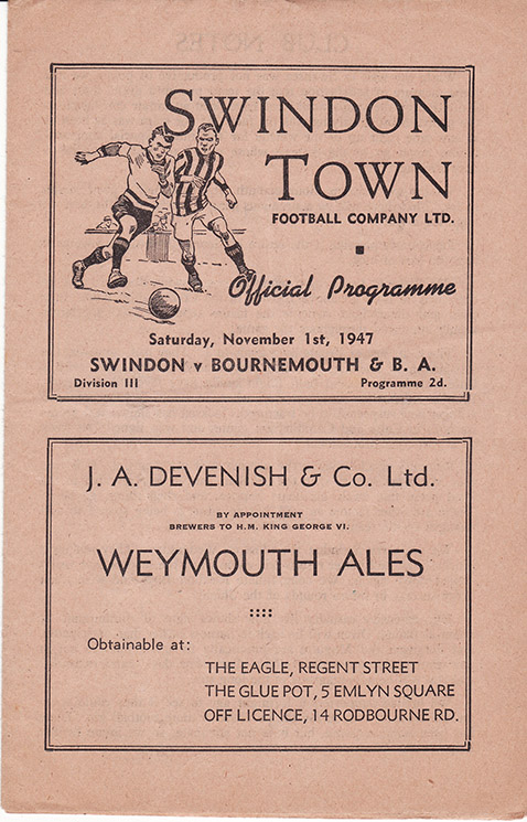 Saturday, November 1, 1947 - vs. Bournemouth and Boscombe Athletic (Home)