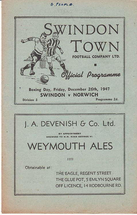 Friday, December 26, 1947 - vs. Norwich City (Home)