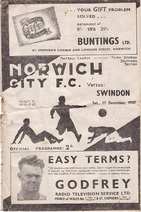 Saturday, December 27, 1947 - vs. Norwich City (Away)