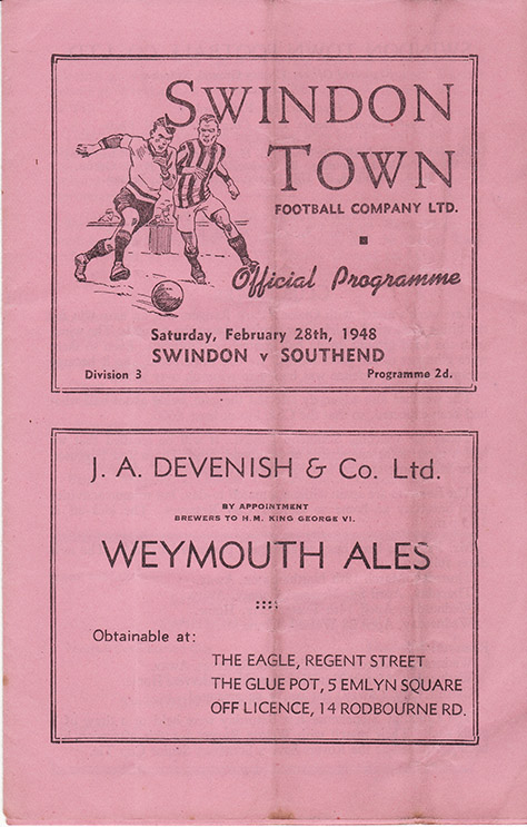 Saturday, February 28, 1948 - vs. Southend United (Home)