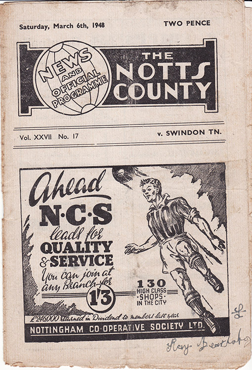 Saturday, March 6, 1948 - vs. Notts County (Away)
