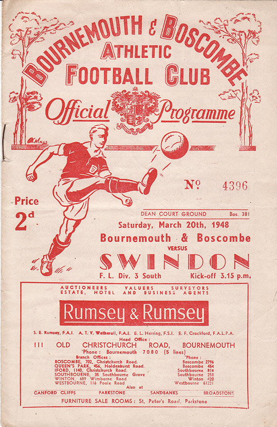Saturday, March 20, 1948 - vs. Bournemouth and Boscombe Athletic (Away)