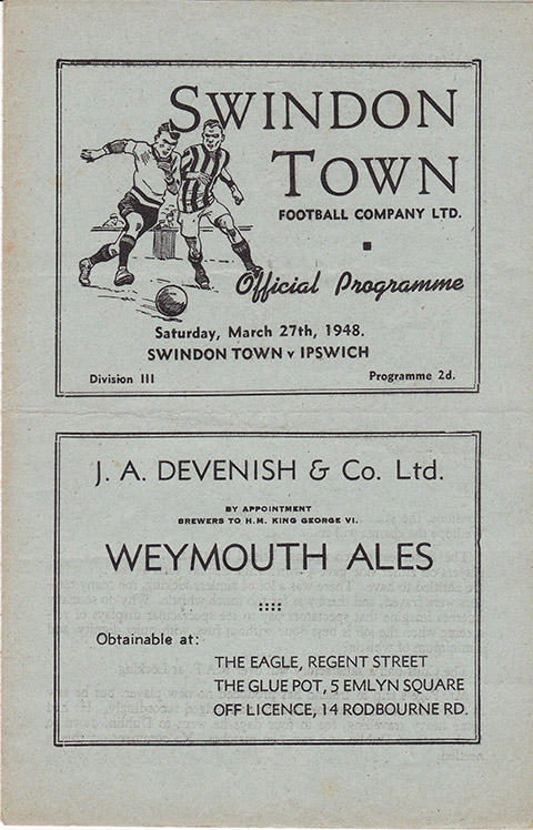 Saturday, March 27, 1948 - vs. Ipswich Town (Home)