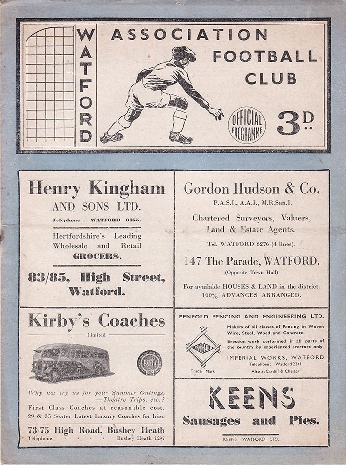 Monday, March 29, 1948 - vs. Watford (Away)