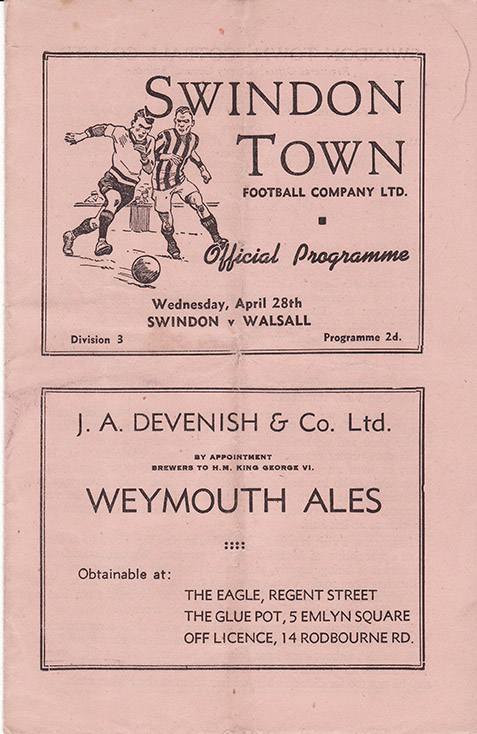 Wednesday, April 28, 1948 - vs. Walsall (Home)