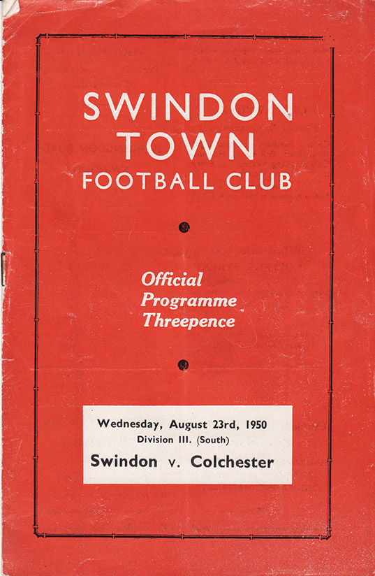 Wednesday, August 23, 1950 - vs. Colchester United (Home)