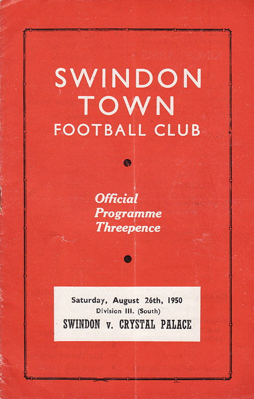 Saturday, August 26, 1950 - vs. Crystal Palace (Home)