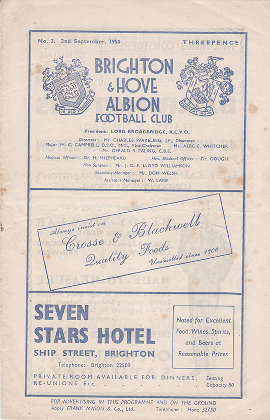 Saturday, September 2, 1950 - vs. Brighton and Hove Albion (Away)