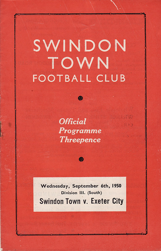 Wednesday, September 6, 1950 - vs. Exeter City (Home)