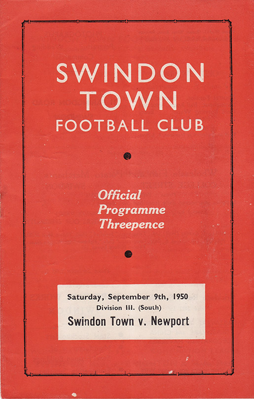 Saturday, September 9, 1950 - vs. Newport County (Home)