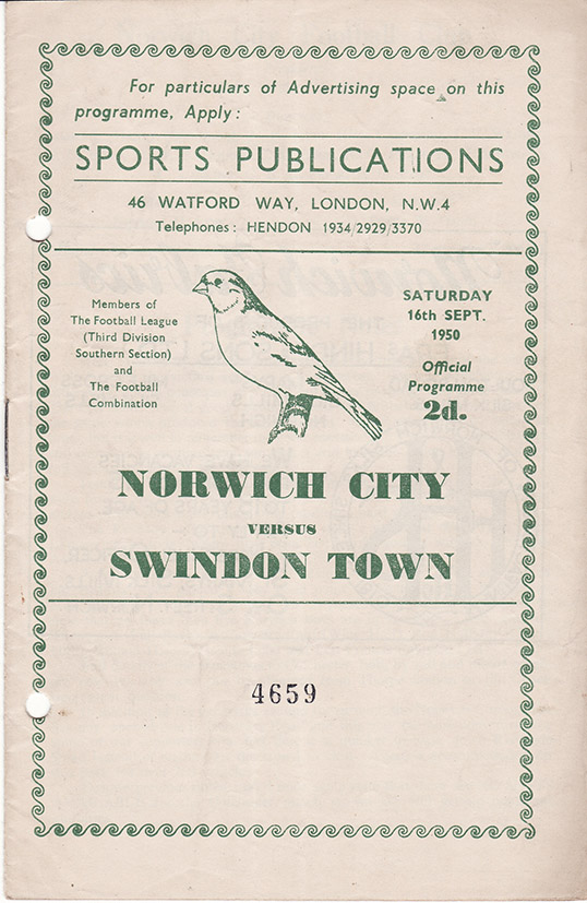 Saturday, September 16, 1950 - vs. Norwich City (Away)