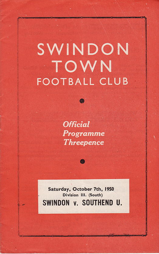 Saturday, October 7, 1950 - vs. Southend United (Home)