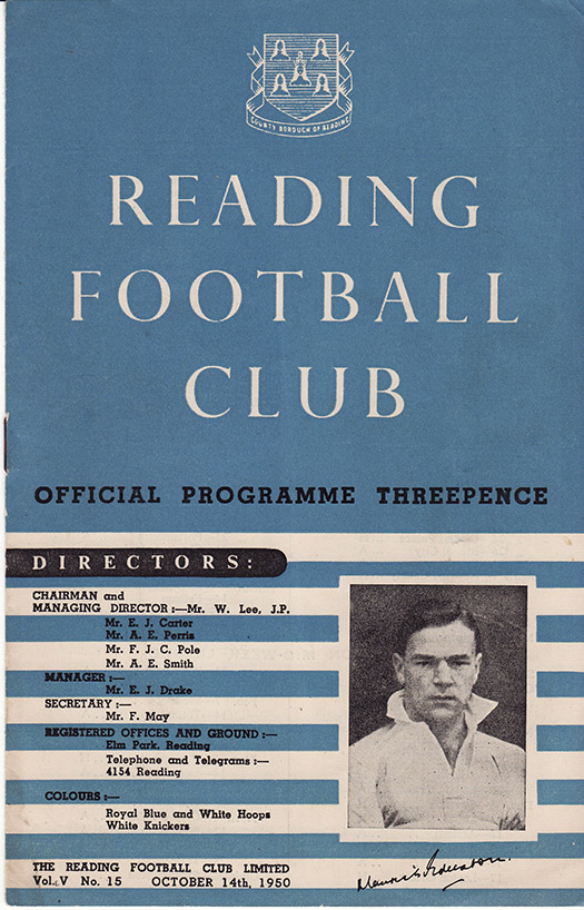 Saturday, October 14, 1950 - vs. Reading (Away)