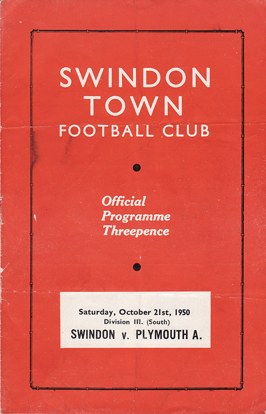 Saturday, October 21, 1950 - vs. Plymouth Argyle (Home)