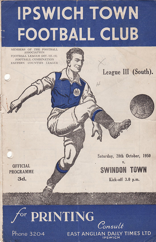 Saturday, October 28, 1950 - vs. Ipswich Town (Away)