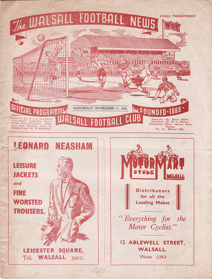 Saturday, November 11, 1950 - vs. Walsall (Away)
