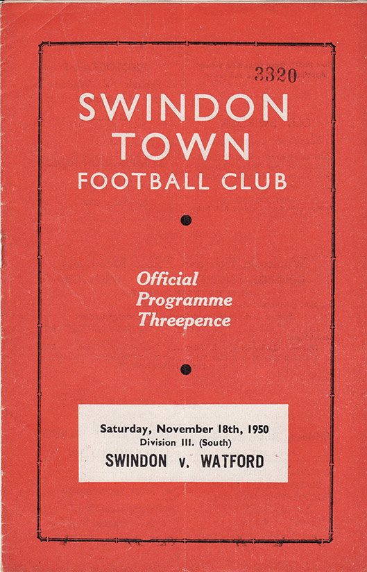 Saturday, November 18, 1950 - vs. Watford (Home)