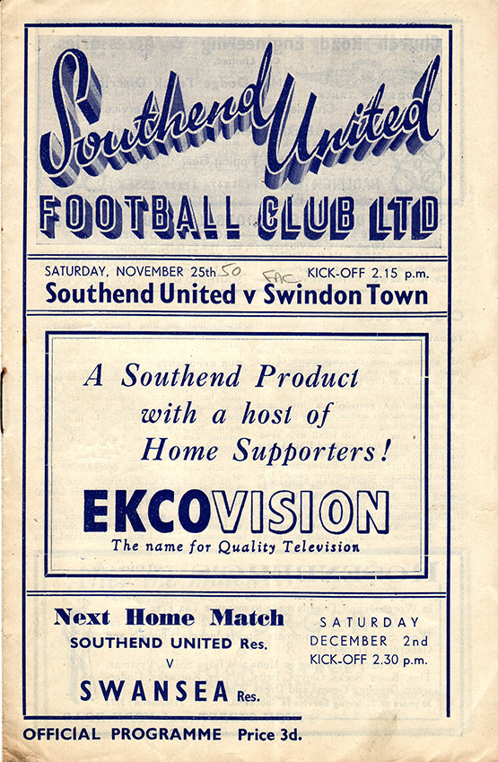 Saturday, November 25, 1950 - vs. Southend United (Away)
