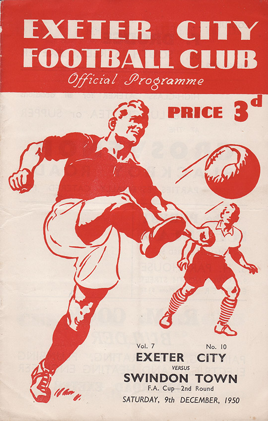 Saturday, December 9, 1950 - vs. Exeter City (Away)