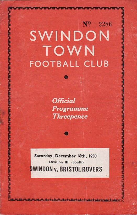 Saturday, December 16, 1950 - vs. Bristol Rovers (Home)