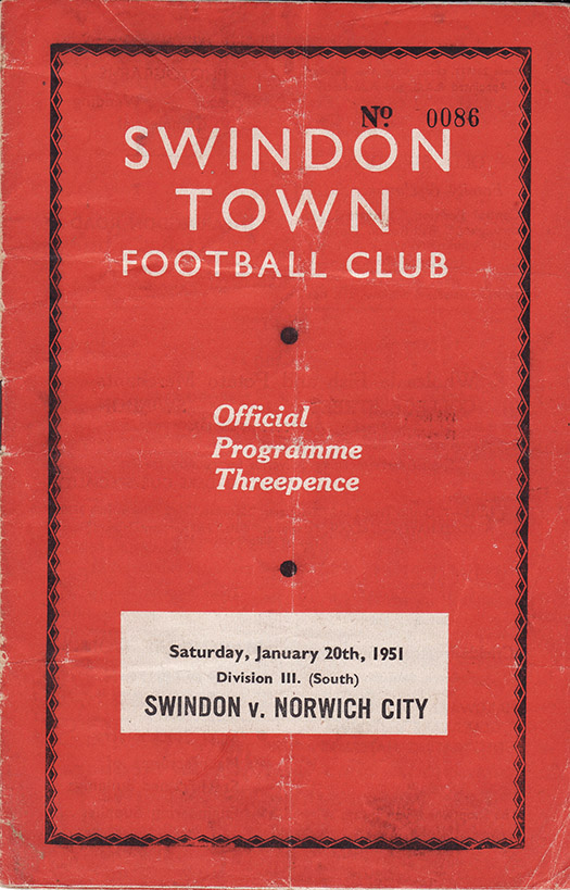 Saturday, January 20, 1951 - vs. Norwich City (Home)