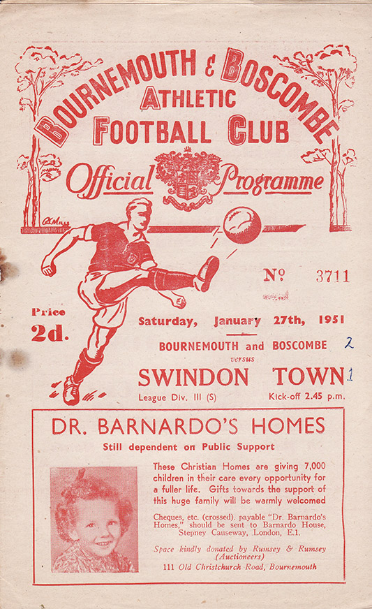 Saturday, January 27, 1951 - vs. Bournemouth and Boscombe Athletic (Away)