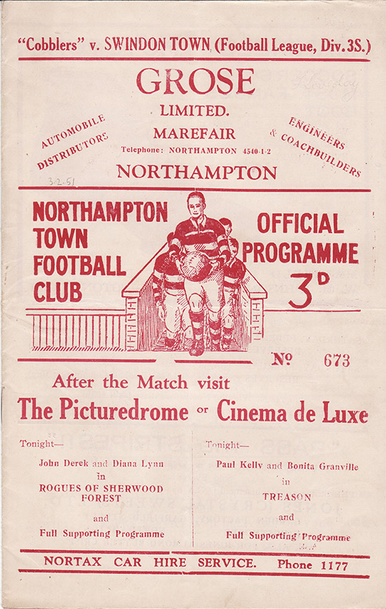 Saturday, February 3, 1951 - vs. Northampton Town (Away)
