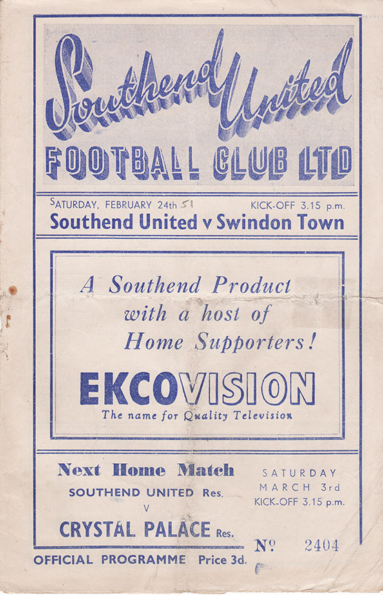 Saturday, February 24, 1951 - vs. Southend United (Away)